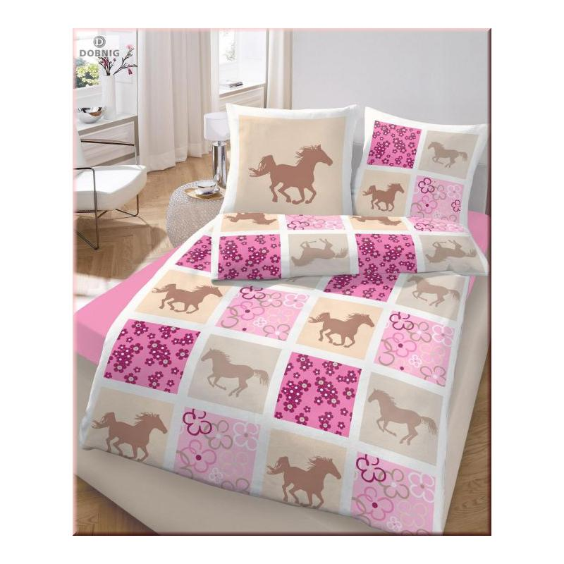 dobnig kinder bettw sche pferde rosa fein biber kotex ebay. Black Bedroom Furniture Sets. Home Design Ideas