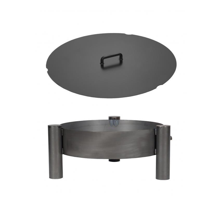 farmcook feuerschale pan 33 stahl unbehandelt mit oder ohne abdeckung 3 gr en ebay. Black Bedroom Furniture Sets. Home Design Ideas
