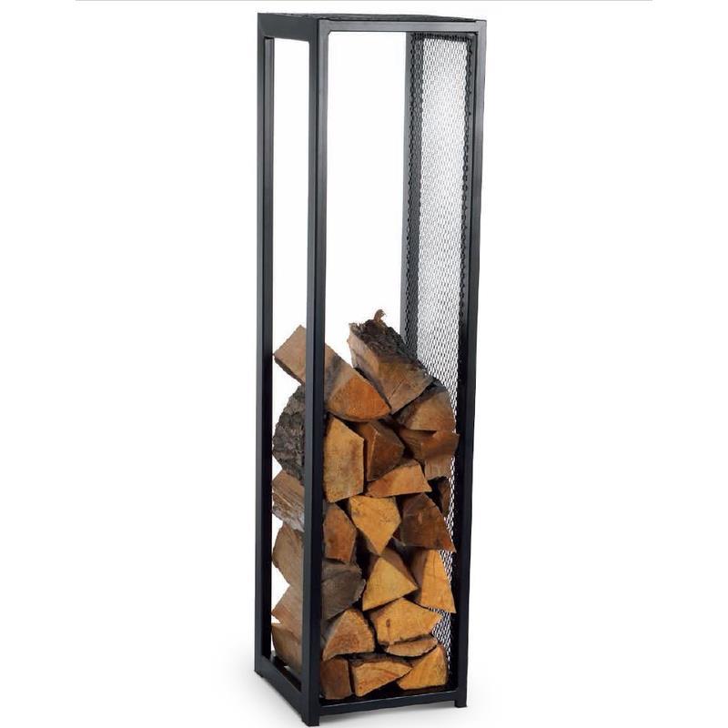 Magnus tag re en bois de chemin e pilier noir panier de bois de chauffage - Panier pour le bois de cheminee ...