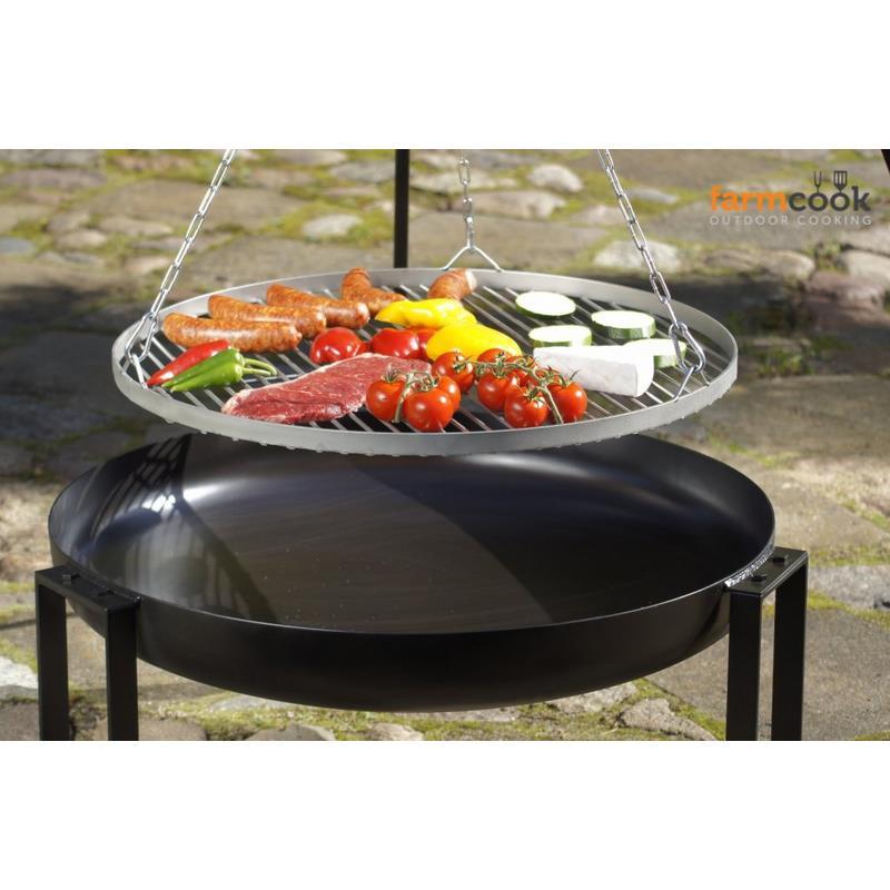 farmcook schwenkgrill viking edelstahl mit feuerschale pan 36 in 4 gr en ebay. Black Bedroom Furniture Sets. Home Design Ideas