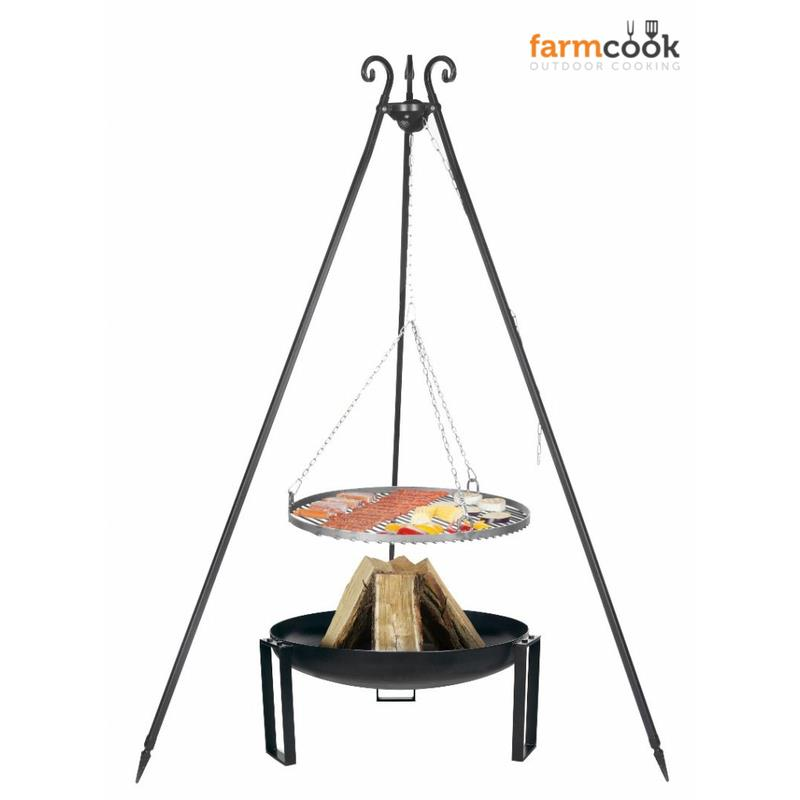 Farmcook hanging grill viking steel with fire bowl pan 36 for Hanging fire bowl