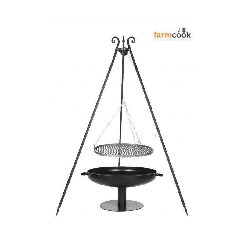 Farmcook hanging grill viking steel with fire bowl pan 41 for Hanging fire bowl