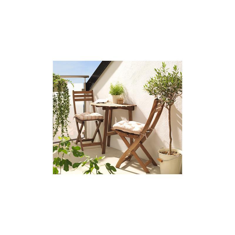 ikea gartenm bel askholmen akazie tisch halbrund 2 st hle balkonm bel ebay. Black Bedroom Furniture Sets. Home Design Ideas