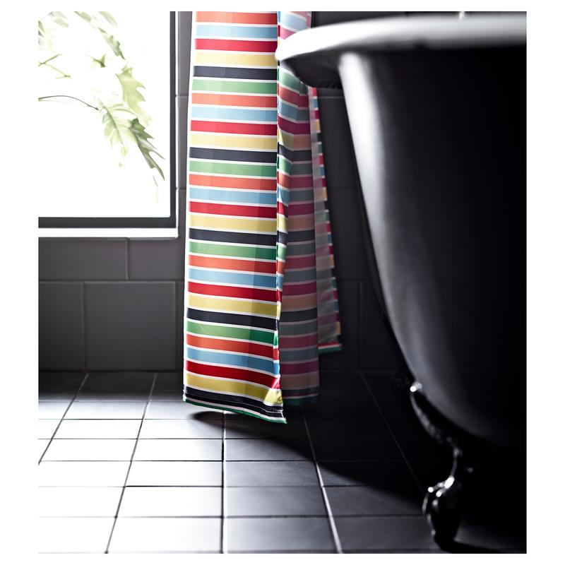 ikea duschvorhang bokvik bunt textil 180 x 200 cm ebay. Black Bedroom Furniture Sets. Home Design Ideas
