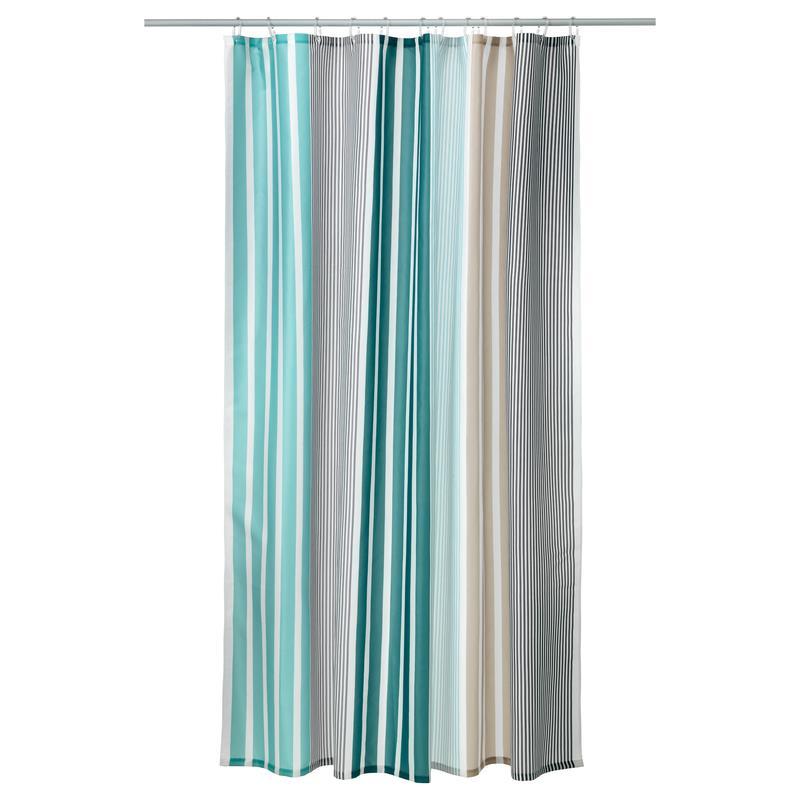 Ikea Duschvorhang : IKEA Duschvorhang BOLMAN grau-t?rkis Textil 180 x 200 cm eBay