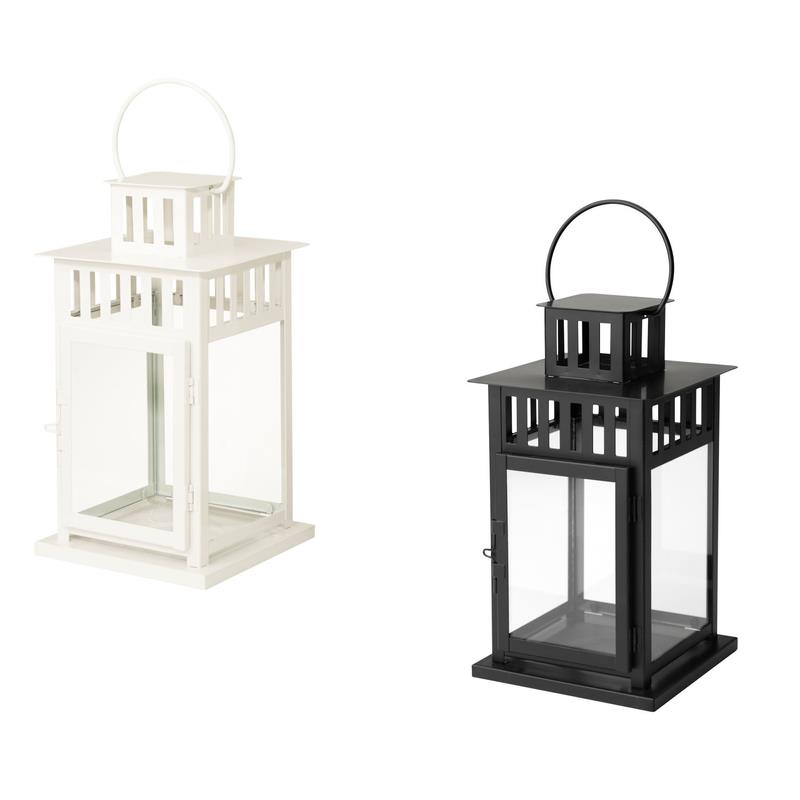 ikea lanterne borrby m tal 28 cm noir ou blanc ebay. Black Bedroom Furniture Sets. Home Design Ideas