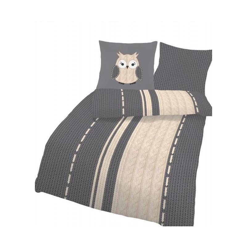 dobnig bettw sche eule grau strickoptik fein biber kotex. Black Bedroom Furniture Sets. Home Design Ideas