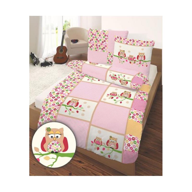 dobnig kinder bettw sche eule rosa pink biber kotex 100 ebay. Black Bedroom Furniture Sets. Home Design Ideas