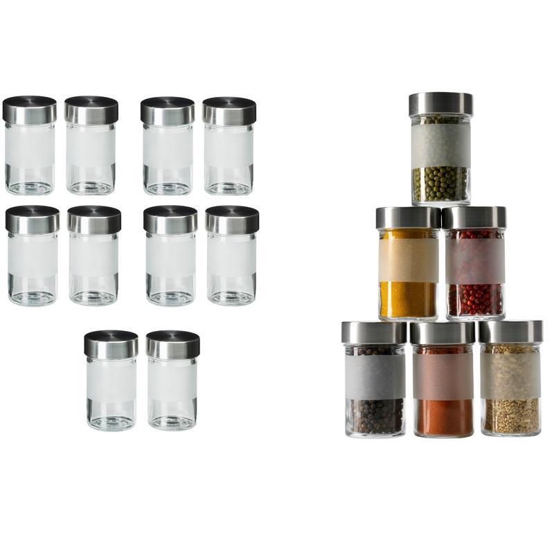 10x ikea barattolo portaspezie droppar vetro acciaio inox for Ikea portaspezie