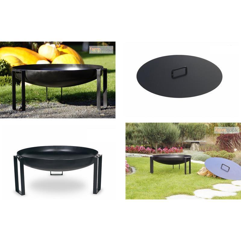 farmcook feuerschale pan 36 lackiert feuerstelle mit o ohne deckel in 3 gr en. Black Bedroom Furniture Sets. Home Design Ideas