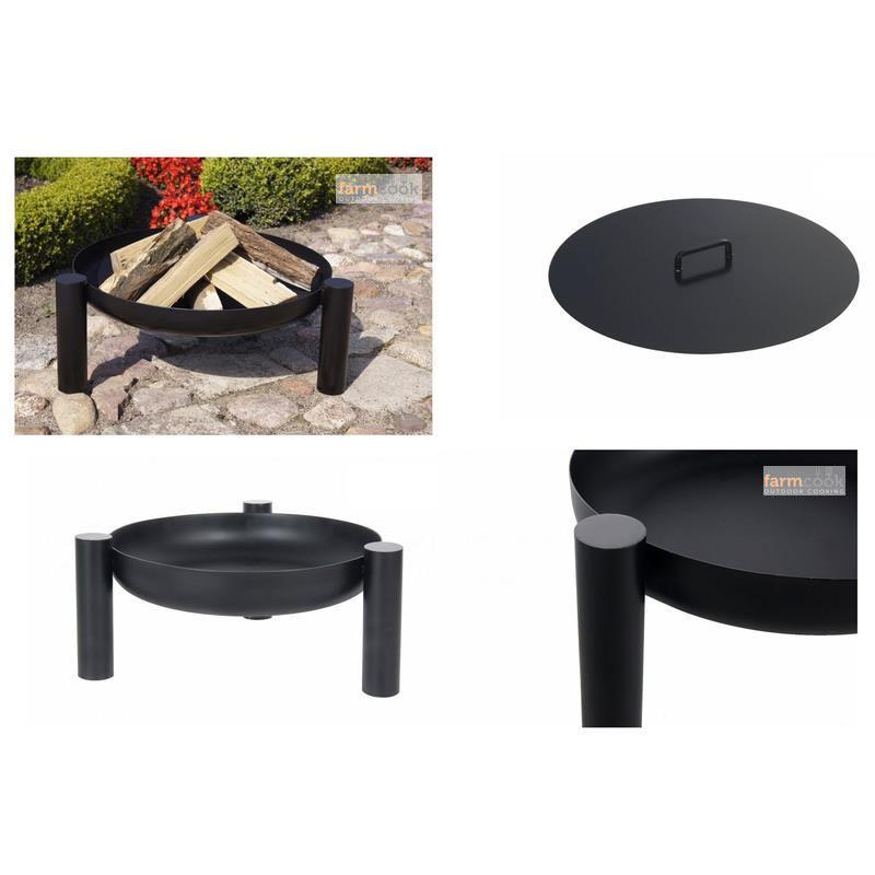 farmcook feuerschale pan 38 lackiert drei gr en mit oder ohne abdeckung ebay. Black Bedroom Furniture Sets. Home Design Ideas