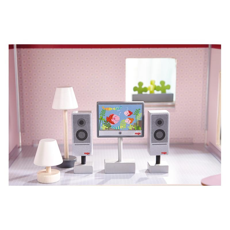 haba 300502 little friends puppenhaus zubeh r fernseher. Black Bedroom Furniture Sets. Home Design Ideas