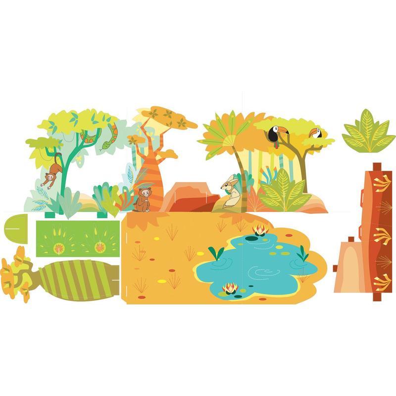 Aladine Happy Crea 3D Tiere zum Ausmalen Dschungel