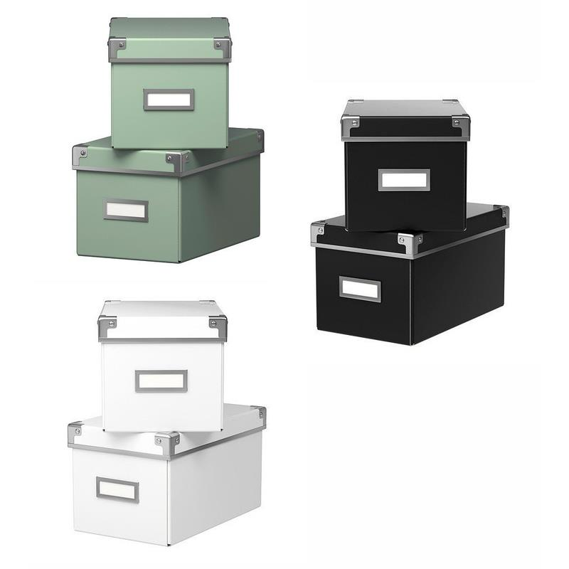 ikea aufbewahrungsbox mit deckel kassett 2 st ck 26x16x15 cm ebay. Black Bedroom Furniture Sets. Home Design Ideas