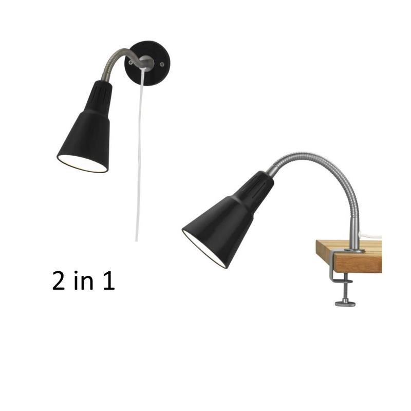 ikea spot kvart 2in1 wandspot oder klemmspot ebay. Black Bedroom Furniture Sets. Home Design Ideas