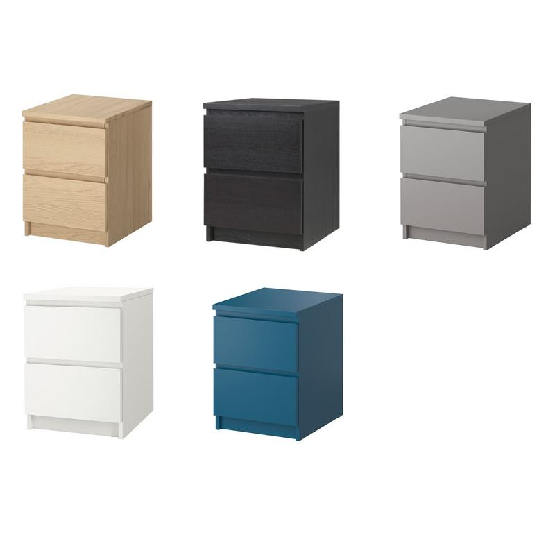 ikea commode malm 2 tiroirs table de chevet table de nuit 5 couleurs ebay. Black Bedroom Furniture Sets. Home Design Ideas