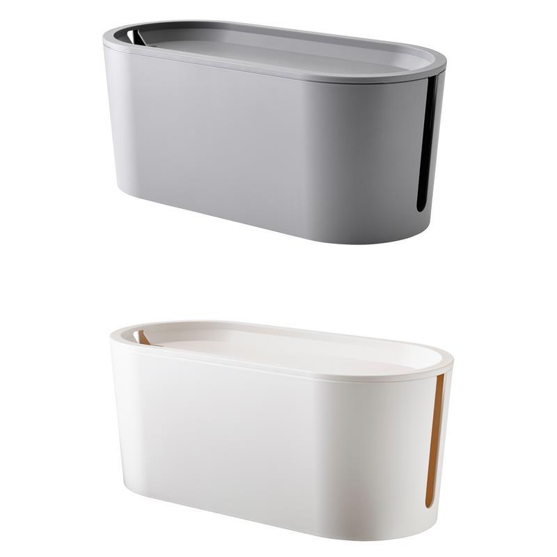ikea kabelsammler romma mit deckel wei oder grau ebay. Black Bedroom Furniture Sets. Home Design Ideas