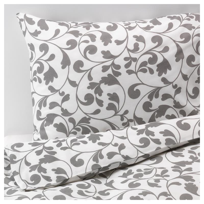Ikea bettw sche rostvin drei gr en wei grau ebay for Ikea funda nordica gris