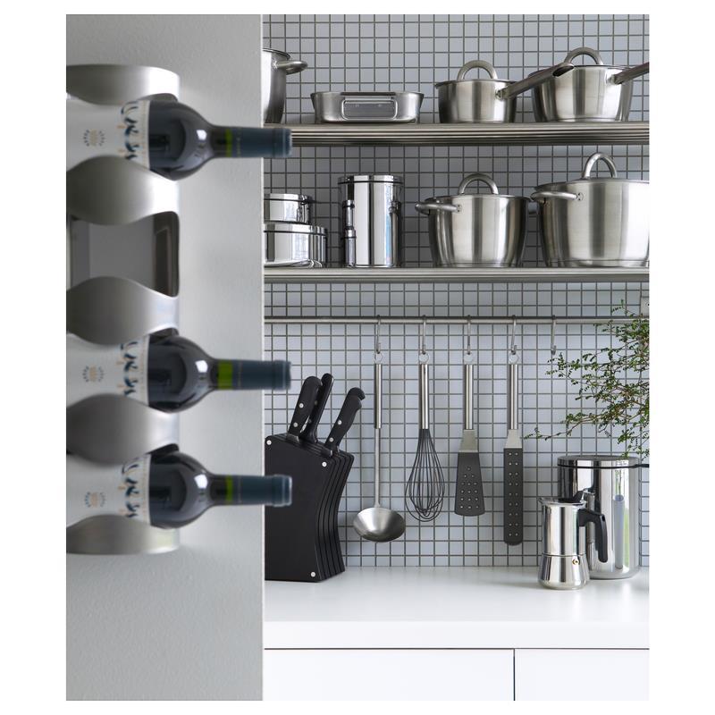 Ikea range bouteilles vurm inox tag re vin pour 4 for Ikea range four