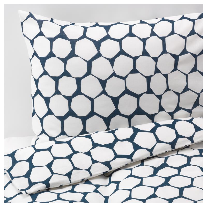 Ikea Bettwäsche Flöng Drei Größen Weiß Blau Ebay