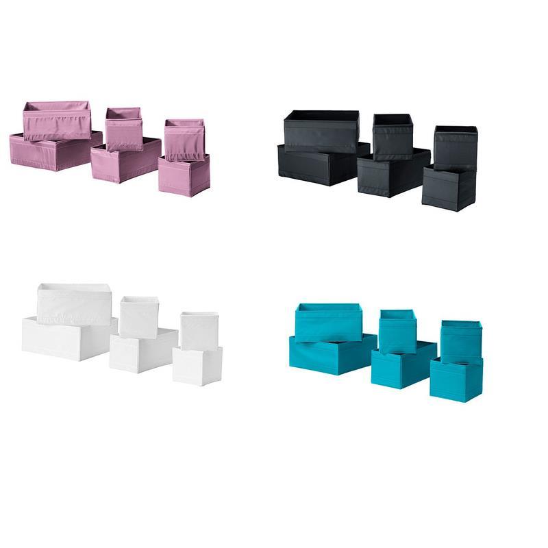 ikea aufbewahrungsboxen skubb set 6 st ck in 4 farben ebay. Black Bedroom Furniture Sets. Home Design Ideas