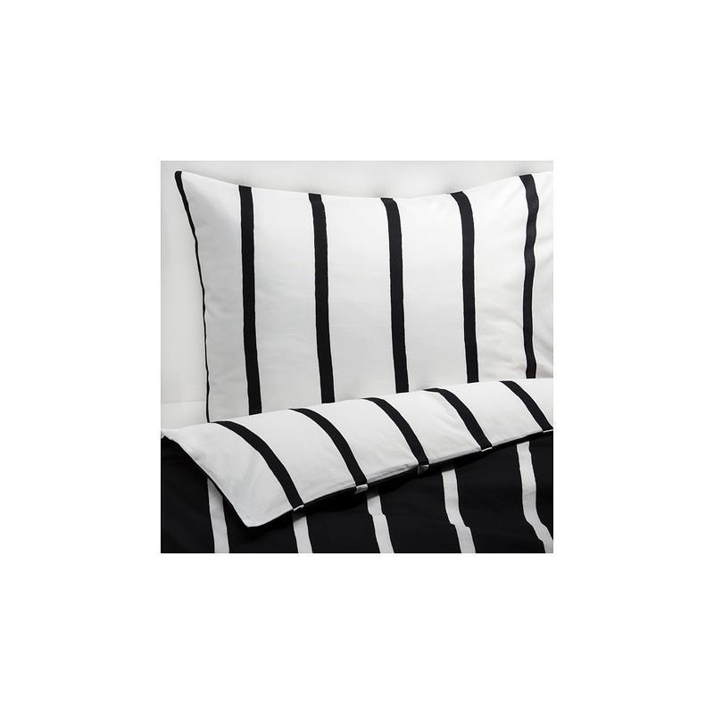 Ikea Bettwäsche Tuvbräcka Schwarz Weiß Gestreift Drei Größen Ebay